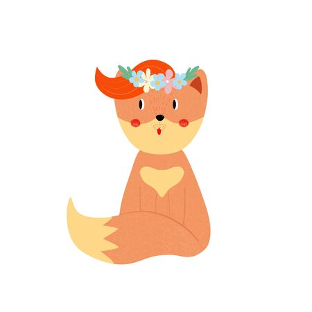 Cute fox with ginger forelock in flower wreath isolated on white background, adorable sweet animal for baby design Cartoon flat  hand drawn illustration, scandinavian boho style, clip art, icon Standard-Bild