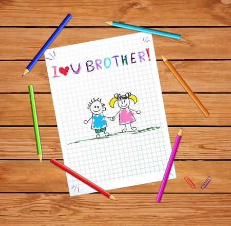 I love you brother kids hand drawn illustration of boy and girl holding hands on notebook checkered paper sheet on wooden table with colored pencils. Greeting card sibling or cousin  illustration