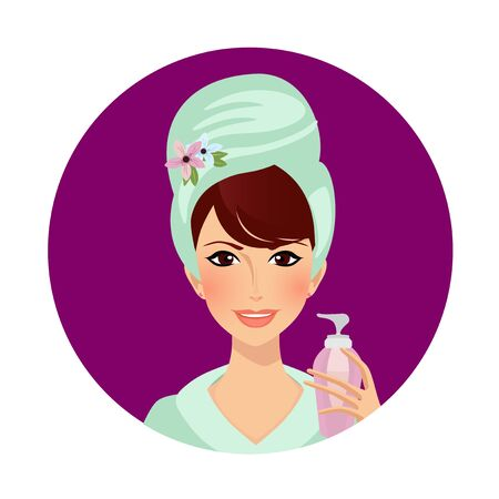 Girl Cream Spa Beauty Cosmetic Procedure. Woman in Towel and Bath Robe Applying Mask or Scrub on Face Pleasure in Beautician Salon Bathroom after Shower Cartoon Flat  Illustration, Icon Clip art Standard-Bild