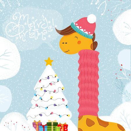 Cute Funny Giraffe in Knitted Hat and Scarf Stand at Decorated Christmas Tree on Winter Snowy Background, Merry Xmas Greeting Card. Kawaii Animal New Year Cartoon Flat Scandinavian Illustration