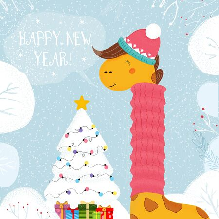 Giraffe in Knitted Hat and Scarf Stand at Decorated Christmas Tree with Gifts on Winter Snowy Background, Merry Xmas Greeting Card Kawaii Animal New Year Cartoon Flat Vector Scandinavian Illustration Standard-Bild