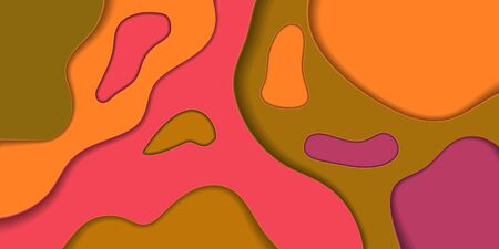 Paper Cut Abstract Background, Bright Colors Red Orange Brown Purple Layers for Presentation Banner or Business Card Design. Trendy Flow Layout Shapes, Creative Flow Decor. 3d Vector Illustration