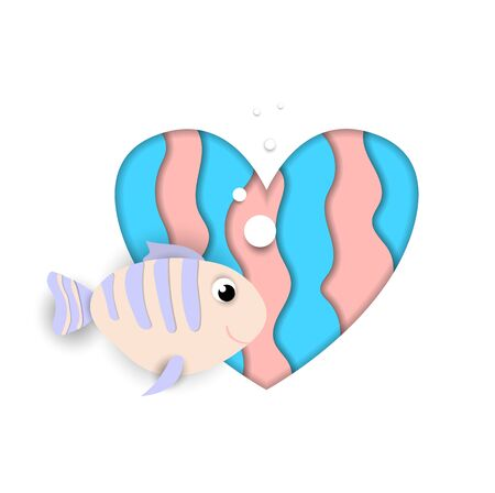 Paper cut fish flow on heart isolated on white background, blue and pink colors design element for baby shower greeting card, Valentine day sticker. Love symbol, 3d Vector Illustration, icon, clip art Ilustracja