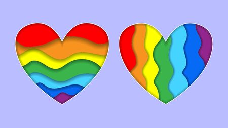 Set of Rainbow heart paper cut art style horizontal and vertical stripe colors LGBT or GLBT pride flag, symbol of lesbian gay bisexual transgender and queer questioning LGBTQ. 3d Vector Illustration