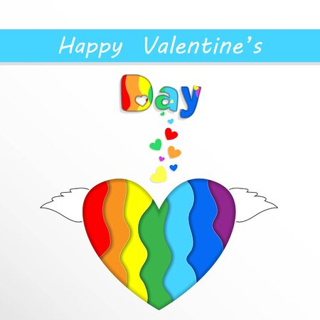 Happy Valentines Day Greeting Card with Rainbow Papercut Heart with Wings on White Background. Saint Valentine Holidays Celebration, Lgbt Love and Gay Loving Relations, Freedom 3d Vector Illustration Ilustracja