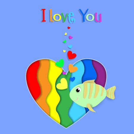 I love you paper cut fish flow on rainbow heart background with heart shaped bubbles. Lgbt gay lesbian pride Happy Saint Valentines Day Papercut Greeting card with typography. 3d Vector Illustration Ilustracja