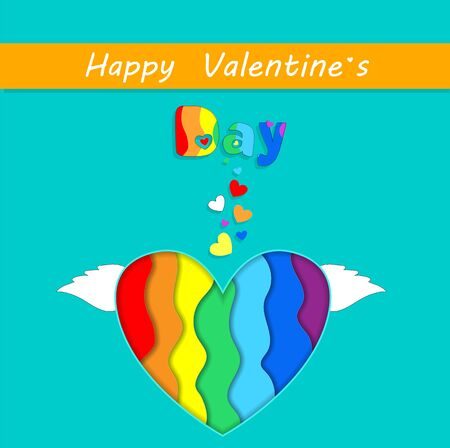 Happy Valentines Day Greeting Card with Rainbow Papercut Heart with Wings on White Background. Saint Valentine Holidays Celebration, Lgbt Love and Gay Loving Relations, Freedom 3d Vector Illustration Illustration