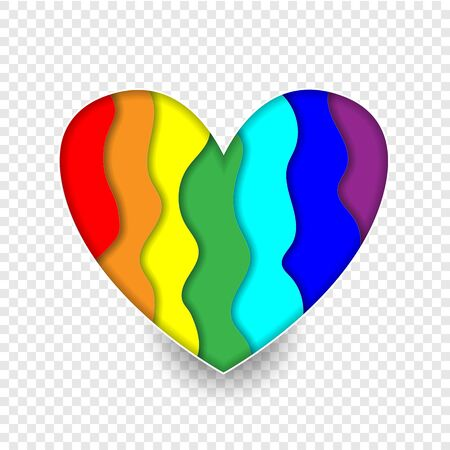 Rainbow paper cut heart colors LGBT or GLBT pride flag isolated on transparent background, symbol of lesbian gay bisexual transgender and queer questioning LGBTQ. 3d Vector Illustration icon, clip art 版權商用圖片 - 138263135