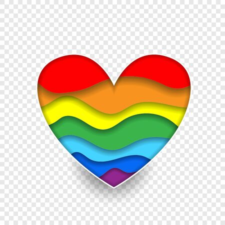 Rainbow paper cut heart colors LGBT or GLBT pride flag isolated on transparent background, symbol of lesbian gay bisexual transgender and queer questioning LGBTQ. 3d Vector Illustration icon, clip art