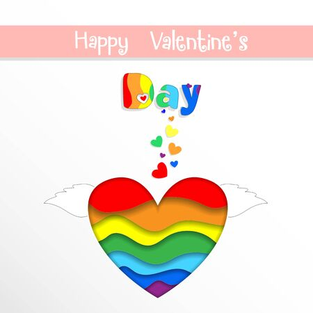 Rainbow Paper Cut Heart with Wings Happy Valentines Day Greeting Card on White Background. Saint Valentine Holiday Celebration, Lgbt Love and Gay Lesbian Loving Relation Freedom 3d Vector Illustration