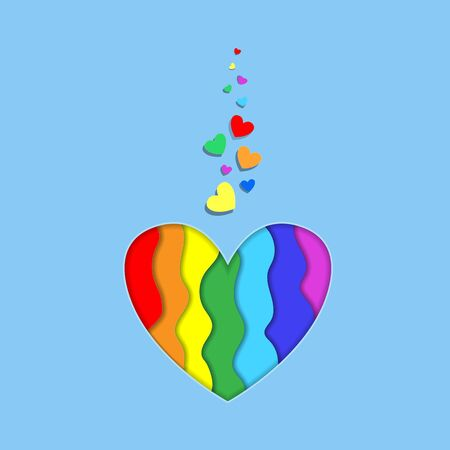 Rainbow paper cut heart shape with 3d effect on blue background, vibrant Lgbt pride colors, design. Template for Valentines day greeting card, Colorful curved wave layers Vector Illustration, icon