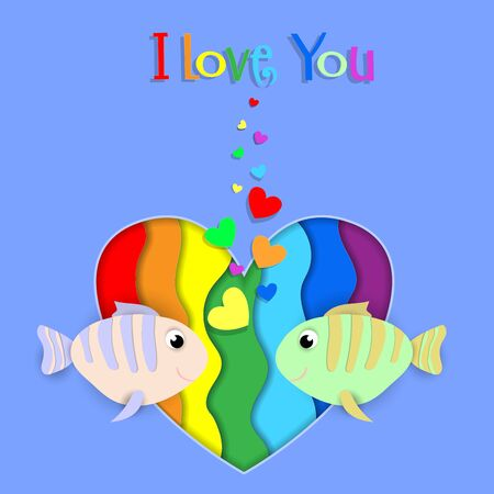 I love you paper cut fish couple flow on rainbow heart background with heart shaped bubbles. Lgbt gay lesbian pride Happy Saint Valentines Day Greeting card with typography. 3d Vector Illustration