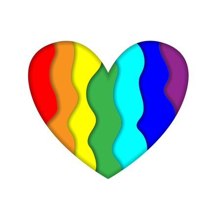 Rainbow paper cut heart colors LGBT or GLBT pride flag isolated on white background, symbol of lesbian gay bisexual transgender and queer questioning LGBTQ. 3d Vector Illustration icon, clip art
