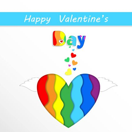Happy Valentines Day Greeting Card with Rainbow Papercut Heart with Wings on White Background. Saint Valentine Holidays Celebration, Lgbt Love and Gay Loving Relations, Freedom 3d  Illustration