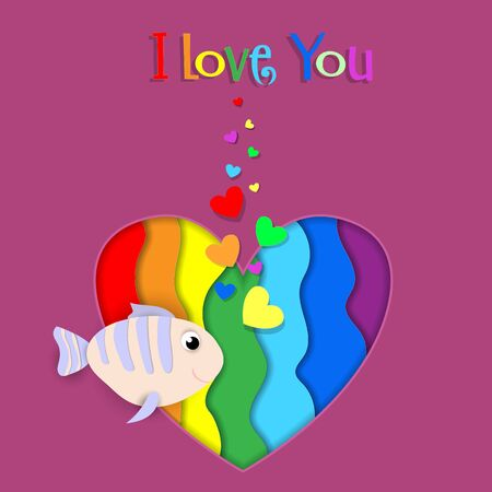 I love you paper cut fish flow on rainbow heart background with heart shaped bubbles. Lgbt gay lesbian pride Happy Saint Valentines Day Papercut Greeting card with typography. 3d  Illustration