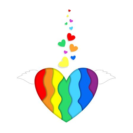 Rainbow heart with wings paper cut 3d effect isolated on white background, vibrant Lgbt pride design. Template for Valentines day greeting card, Colorful curved wave layers  Illustration, icon