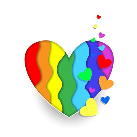 Rainbow paper cut heart colors LGBT or GLBT pride flag isolated on white background, symbol of lesbian gay bisexual transgender and queer questioning LGBTQ. 3d  Illustration icon, clip art Standard-Bild