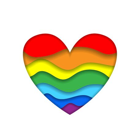 Rainbow paper cut heart colors LGBT or GLBT pride flag isolated on white background, symbol of lesbian gay bisexual transgender and queer questioning LGBTQ. 3d  Illustration icon, clip art Zdjęcie Seryjne