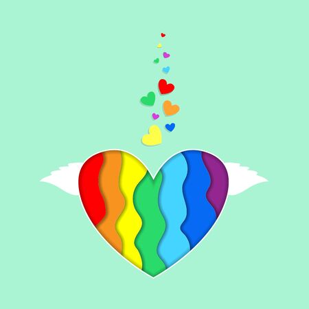 Rainbow heart with wings paper cut 3d effect isolated on green background, vibrant Lgbt pride design. Colorful curved wave layers Template for Valentines day greeting card,  Illustration, icon Standard-Bild
