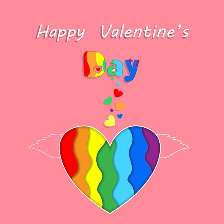 Saint Valentine Rainbow Paper Cut Heart with Wings Happy Valentines Day Greeting Card on Pink Background. Holiday Celebration, Lgbt Love and Gay Lesbian Loving Relation Freedom 3d  Illustration