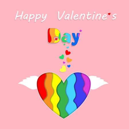 Saint Valentine Rainbow Paper Cut Heart with Wings Happy Valentines Day Greeting Card on Pink Background. Holiday Celebration, Lgbt Love and Gay Lesbian Loving Relation Freedom 3d  Illustration 版權商用圖片 - 138534725