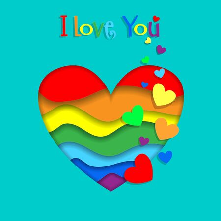 I Love You Lgbt Happy Valentines Day Greeting Card. Rainbow Paper Cut Heart with 3d Effect on Green Background Pride Colors for Saint Valentine Celebration Marriage Proposal Banner  Illustration