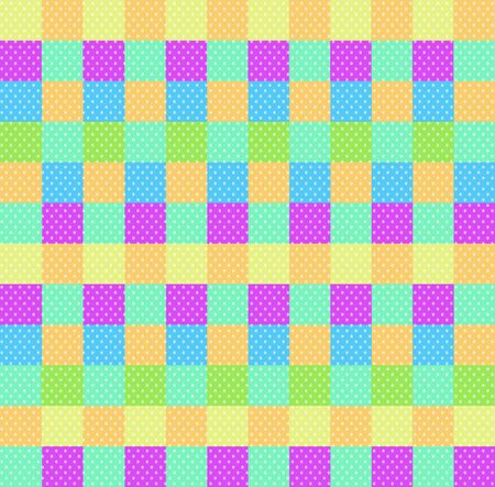 Polka dot checkered background seamless pattern with orange pink blue yellow green squares and checks. Pop art backdrop, baby shower wallpaper, multicolored wrapping paper ornament vector illustration