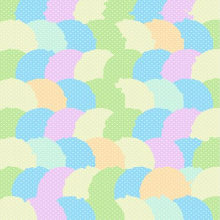 Abstract Geometric Pattern with Circle Segments and Polka Dots Ornament of Pastel Baby Colors, Fabric or Wrapping Paper Print Pink Blue Green Orange and Yellow Palette, Textile Illustration