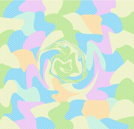 Pastel Vortex Polka Dots Background, Summer Colorful Swirl Baby Pattern Blue, Pink Yellow Orange Green Colors. Kids Design Wrapping Paper Scrapbook Wave Decoration. Abstract Illustration