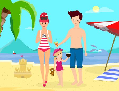 Happy Family at Beach Party. Smiling Parents with Child Stand on Sand Enjoy Cocktails on Seaside Background with Dolphins, Palms, Umbrella and Sand Castle. Cartoon Flat  Illustration