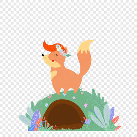 Cute fox isolated transparent background Cartoon