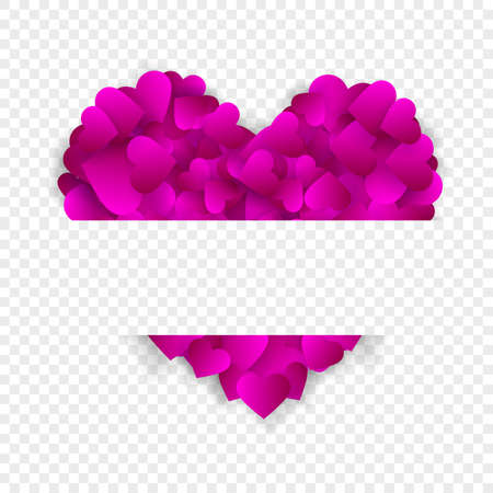 Heart frame vector border love background with big pink heart made of confetti or petals with horizontal copy space isolated on transparent background. Banner for Valentines day or wedding invitation