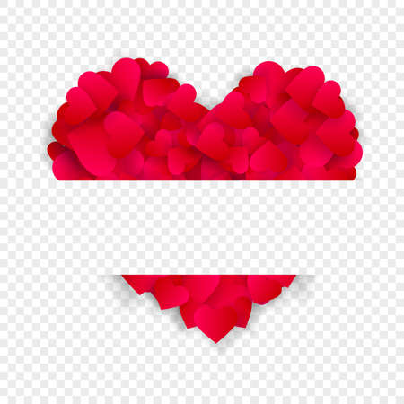 Heart frame vector love border background with big red heart made of confetti or petals with horizontal copy space isolated on transparent background. 3d Banner for Valentine day or wedding invitation