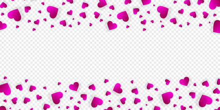 Heart frame vector border love banner with falling pink scatter confetti petals. Horizontal up and down double bordering. Valentines day wedding invitation template isolated transparent background
