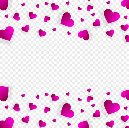 Heart frame vector border love banner with falling pink scatter confetti petals. Square up and down double bordering. Valentines day wedding invitation template isolated transparent background
