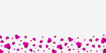 Heart frame vector border love banner with falling pink scatter confetti petals. Horizontal down bordering. Valentines day wedding invitation template isolated transparent background, pattern, mockup