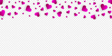 Love border with falling pink hearts, vector frame with scatter confetti petals. Horizontal up bordering, for Valentine day or wedding invitation card template isolated transparent background, pattern