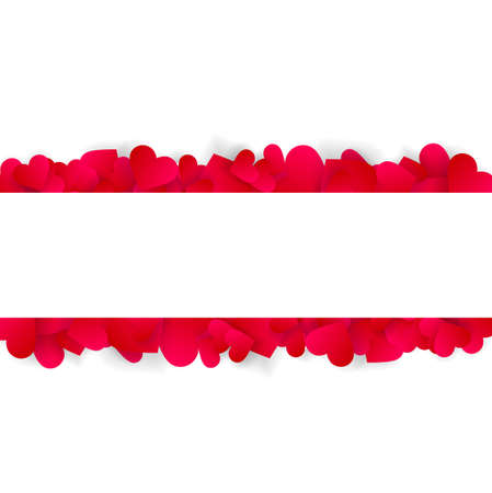 Heart frame vector banner or border, love 3d effect red hearts confetti or petals. Horizontal header or footer template. Valentines day wedding invitation copy space isolated on white background Illustration