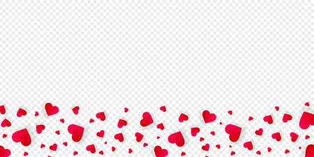 Heart frame vector border love banner with falling red scatter confetti petals. Horizontal down bordering. Valentines day wedding invitation template isolated transparent background, pattern, mockup Illustration