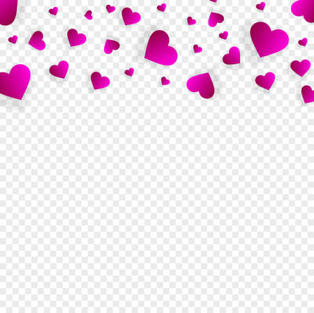 Love border with falling pink hearts, vector frame with scatter confetti petals. Horizontal up bordering pattern for Valentines day or wedding invitation card template isolated transparent background Illustration