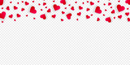 Love border with falling red hearts, vector frame with scatter confetti petals. Horizontal up bordering, for Valentine day or wedding invitation card template isolated transparent background, pattern
