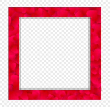 Heart frame vector love border with red petals, hearts or confetti. Valentine day wedding invitation or cover design with copy space, photo frame isolated on transparent background, square template