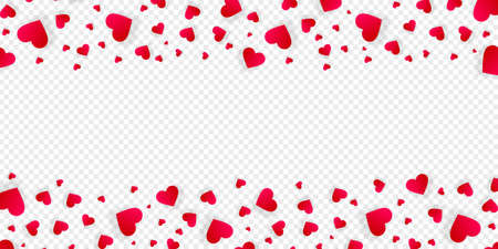 Heart frame vector love banner or border with red petals, hearts or confetti. Valentines day wedding invitation with copy space, photo frame isolated on transparent background, horizontal template Illustration