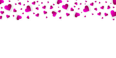 Heart frame vector banner, border, love background