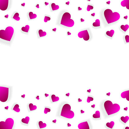 Heart frame vector banner, border, love background Standard-Bild - 161728264