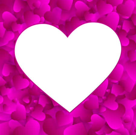 Heart frame vector empty border, love background
