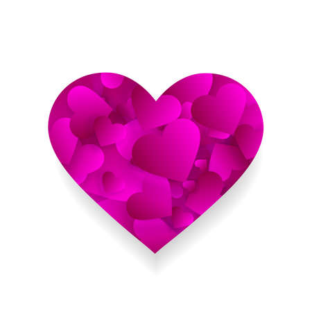 Pink heart icon 3d effect with small hearts petals Illustration