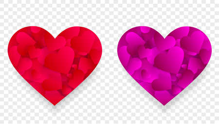 Pink red heart icons 3d effect with small petals Illustration