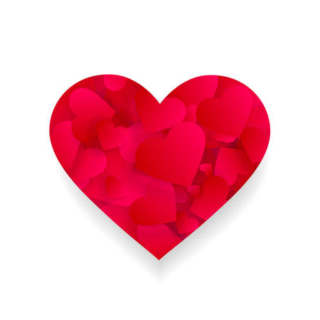 Red heart icon with petals inside 3d effect shape Illustration