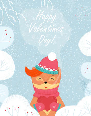 Valentines Day Greeting Winter Fox Hold Red Heart Illustration